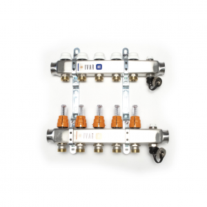 RVS verdeler met flowmeters